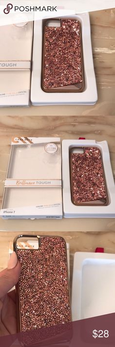 Rose gold crystal iPhone 7 cover Military strength two piece protection. Brand new. Beautiful rose gold crystal phone cover. Accessories Phone Cases