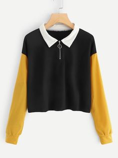 To find out about the Drop Shoulder Quarter Zip Sweatshirt at SHEIN, part of our latest Sweatshirts ready to shop online today! Funny Sweatshirts, Sweatshirts Online, Cool Hoodies, Funny Tees, Dress Codes, Korean Fashion, Cute Outfits, Fashion Outfits, Casual