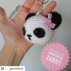 Free amigurumi pattern and knitting crafts models. Crochet Panda, Cute Crochet, Crochet Animals, Easy Crochet, Knit Crochet, Crochet Hats, Crochet Motifs, Crochet Patterns Amigurumi, Amigurumi Doll