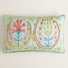 White Flower Suzani Embroidered Lumbar Throw Pillow