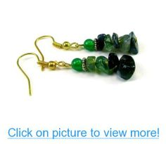 Green Agate Gemstone Chips with Green Aventurine Dangle Earrings #Green #Agate #Gemstone #Chips #Aventurine #Dangle #Earrings