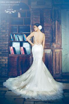 Spaghetti Strap Mermaid Wedding Dress With Sexy Back-Custom Made Wedding Dress-Lace Wedding Dress (Style # Katherine PB088)-Made To Order