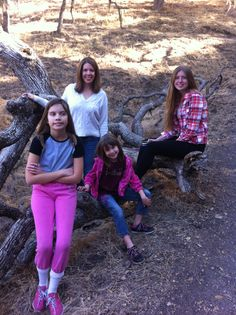 The girls and I on a walk in the woods of Atascadero. I thought the log was pretty cool!