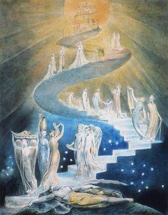 William Blake, L'échelle de Jacob, 1800 Ce tableau fait référence au rêve du patriarche Jacob fuyant son frère Esaü, représentant une échelle montant vers le ciel.