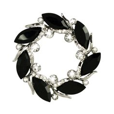 Eventide Jet Black and Clear Crystal Silver Tone Scarf Clip
