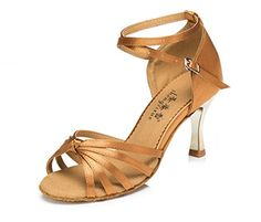 CRC Womens Stylish Peep Toe Bronze Satin Ballroom Morden Salsa Latin Tango Party Wedding Professional Dance Sandals 115 M US * You can get additional details at the image link.(This is an Amazon affiliate link)