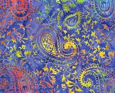 CLR - 006  Gypsy Paisley Lapis Blue #blue #green #pruple #red #yellow