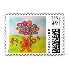 Adorable Dudley The Bear Postage Stamp