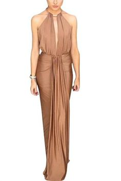 Get your #glam on #metallic #dress Pretty Prom Dresses, Chic Dress, Affordable Clothes Online, Perfect Prom Dress, Casual Dress Outfits, Brown Dress, Latest Fashion Clothes, Formal Gowns, Mens Clothing Styles