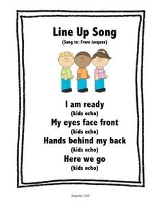 Classroom Chants, Classroom Rules, Music Classroom, Kindergarten Classroom, Classroom Ideas, Kindergarten Songs, Preschool Music, Preschool Learning, Line Up Songs