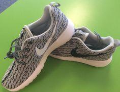Custom Nike Roshe Run Yeezy inspired  turtle dove black white swoosh combo