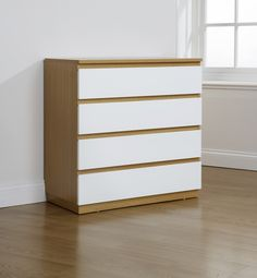 Algarve 4 Drawer Chest in White Gloss and Oak