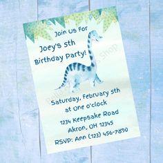 Personalized Dinosaur Birthday Invitation - Boys Childrens Printable Birthday Invite - Digital Print Email Text Dinosaur Birthday Invitations, Printable Birthday Invitations, Custom Baby Shower Invitations, Personalized Invitations, Childrens Wall Art, Baby Wall Art, Pink Cat, Pattern Paper, Invite