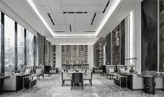 李曜年:新作|瑞安都会外滩售楼处设计 - 设计腕儿【腕儿案例】 Ceiling Decor, Ceiling Design, Luxury Interior, Interior Design, Public Space Design, Lobby Bar, Black And White Interior, Lobby Design, Hotel Interiors