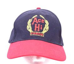 b784f14ba2e Ace Hi Feeds Ball Cap Trucker Hat Adjustable 100% Cotton Navy Red   AceHighFeeds