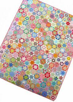 Hand Pieced Hexagon Star Quilt.