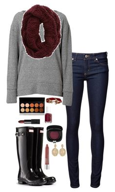 """""""Black hunters and burgundy"""" by kaley-ii ❤ liked on Polyvore featuring moda, Naked & Famous, Current/Elliott, Aerie, Hunter, Brooks Brothers, Essie, BHCosmetics, NARS Cosmetics ve Clinique"""