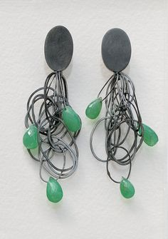 Tangle Earrings with Chrysophrase: Heather Guidero: Silver & Stone Earrings | Artful Home