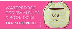 Waterproof Bag for Swim Suites & Pool Toys. Page 10 http://initials-inc.com/  @Initials, Inc  #iiSpring