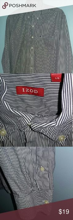 IZOD Pinstripe Dress Shirt ⌚👞 A men's white Izod dress shirt with navy blue pinstripes, buttons on the collar and buttoned down sleeve cuffs. Small navy blue embroidered logo detail on breast pocket. Worn twice. Selling for my brother. Size Large. Great condition! Izod Shirts Dress Shirts