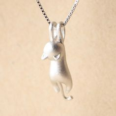 Mini Climbing Cat Necklace - 925 Sterling Silver - Owl J  - 5