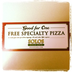 "Follow us on Twitter or ""Like"" us on Facebook to win weekly pizzas!"