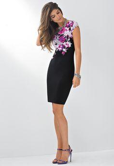 A Sleek Black Sheath Dress, Fashionably Flower-ized