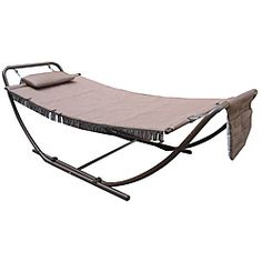 @Overstock - Steel frame for extra durability Crafted to withstand seasons of inclement weather Includes 1 Folding Hammockhttp://www.overstock.com/Home-Garden/Deluxe-Padded-Folding-Hammock/6356738/product.html?CID=214117 $134.99