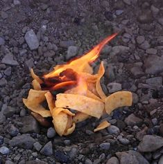 If your campground is lacking in the kindling department, use corn chips (like Fritos or Doritos) as a firestarter, instead.