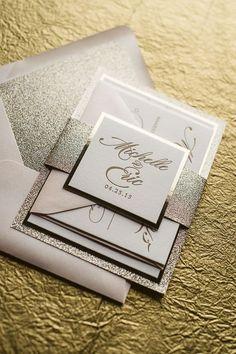 Fancy Blush and Gold Glitter Invitation