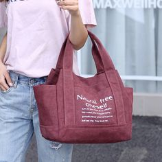Women Canvas Tote Handbags Casual Printing Shoulder Bags Capacity Shopping Bags