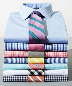 Menswear/stripped/checkered/solid shirt & tie combos