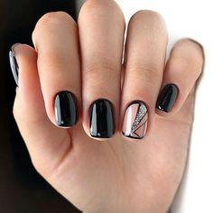 Short Nail Manicure, Black Manicure, Short Nails, Black Nail Art, Black Nails, Short Nail Designs, Cool Nail Designs, Hourglass Figure Workout, Uñas Fashion