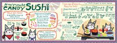 Children will love this! How to make Candy Sushi by Kaitlyn McCane. Another great illustrated recipe from www.theydrawandcook.com