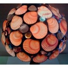 Stained glass table seashell lamp.