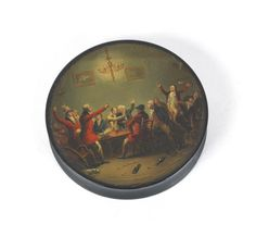 An early 19th century papier mache snuff box and cover painted by Samuel Raven (British, c.1775-1847)