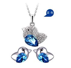 Crystal Paradise Bird Necklace Earrings Set, shop at Costwe.com