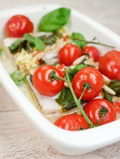 Rezept für Gebackener Seelachs mit Ingwer, Tomaten und Pinienkernen - Gaumenfreundin.de Foodblog