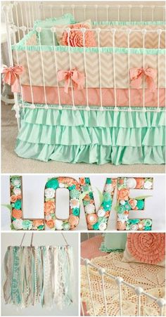 Girl Nursery Theme Ideas~ There are so many cute girl nursery theme ideas to choose from like this coral and mint color combination. While I LOVE the color pink, not everyone wants to design their baby girl's nursery in that color. This nursery design is beautiful and so girly without the typical pink themed nursery.