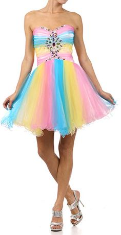 Sweetheart Chestline Multi Color Prom Dress, great for a mystical/candy themed prom Colorful Prom Dresses, Sweet 16 Dresses, Nice Dresses, Short Dresses, Girls Dresses, Formal Dresses, Rainbow Dresses, Awesome Dresses, Plus Size Homecoming Dresses