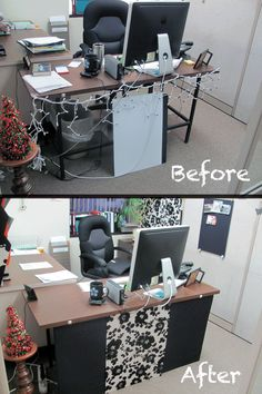 """Look what I did to my cubicle with 3.5 yards of fabric, some cardboard and double-sided tape! Desk """"skirt"""", a pin-board, and fabric covered cubicle panel. Feels a bit classier now"""