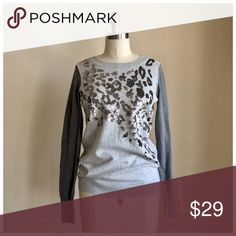 • Express Gray Sequin Sweater • EUC • Silver Sequins  • Contrasting Charcoal Sleeve • Crewneck •  Length 25 • Sleeve 24 • Chest 34 Express Sweaters Crew & Scoop Necks