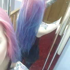 My Pink roots, to purple to blue unicorn hair