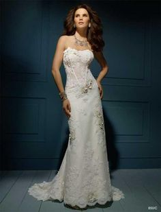 Balletts Bridal - 16986 - Wedding Gown by Alfred Angelo - ZIPPER BACK - Alfred Angelo 850 WG.  Point d'Esprit and re-embroidered lace slim a-line gown with sheer corset bodice accented with satin flowers and pearls.  Chapel train.