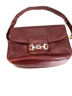 Vintage Gucci handbag leather purse burgundy cordovan wine oxblood horsebit closure 1960's