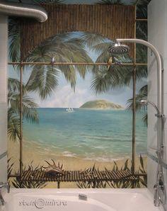 Дизайн ванной комнаты: роспись стен и потолка морской тематикой