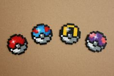 Mini Pokeball Hama Perler Bead Sprite by StrepiePixelCrafts