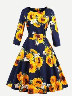 Random Sunflower Print Bow Tie Circle Dress -SheIn(Sheinside)