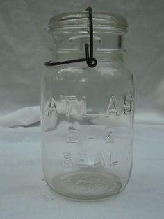 Vintage ATLAS Bail Top Clear Glass Canning Storage E-Z Seal Jar w/ Glass Lid