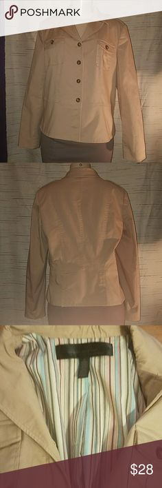 "Apostrophe Tan Blazer/Jacket, Size 16 Luxury is a State of Mind by Apostrophe. No stains, tears or defects. Fabric has quute a bit of stretch to it.  Measurements laying flat:  Pit to pit: 20"" Length 23"" Waist:  20"" Sleeves: 23"" Apostrophe Jackets & Coats Blazers"